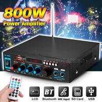 800W Bluetooth Power Amplifier HiFi Stereo Home Audio Digital Car Amp MP3 MIC