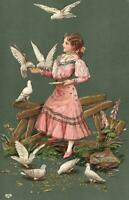 1908 VINTAGE EMBOSSED PRETTY YOUNG GIRL FEEDING DOVES POSTCARD - to Adelaide