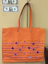 Orange Jute Tote Bag With Mirrors