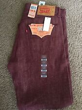 Levi 501 34x30 Mens jean Button-Fly Red/Burgundy White Oak Cone Denim! NWT Nice!