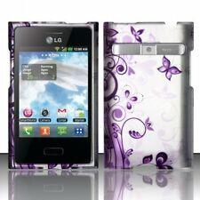 LG Optimus Logic L35G L38c Rubberized HARD Case Phone Cover Purple Butterfly J5