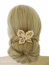 Beautiful Butterfly Hair Comb Slide with Tiny Pearls Diamante Gold Tone 6 cms