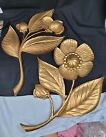 "Vtg 1964 Syroco ""Wood"" Poppy Flower Floral Magnolia Wall Art Decor 4978, 4979"