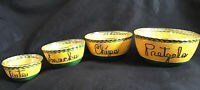 Midcentury Yellow and Brown Twine Rope Nesting Glass Stacking Snack Bowls Set