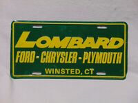 "Lombard Green yellow metal license Plate 12"" x 6"" Ford Chrysler Plymouth Winsted"