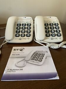 2 X BT big button 200 corded telephone white