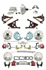 """A F X Body GM Red Drilled/Slotted Disc Brake Kit Control Arms 9"""" Chrome Booster"""