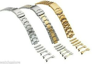 New Men's 18mm 20mm 22mm Curved & Straight End Watch Band Bracelet