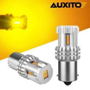 AUXITO BA15S 1156 3497 7506 LED Rear Turn Signal Light Bulbs PURE Amber 2200K 2x