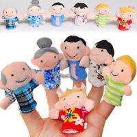 6 Stück Cartoon Familie Fingerpuppen Tuch Baby Educational Hand Spielzeug flYfE