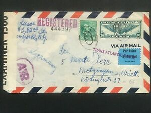 1940 New York USA Censor Airmail Cover To Metzingen Germany Trans Atlantic Route
