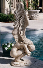 """Modern Winged Athletic Nude Naked Female Girl Angel Sculpture Statue 30.5"""" tall"""