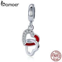 Bamoer Enamel S925 Sterling Silver Dangle charm Heart With CZ Women Fit Bracelet