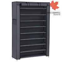 Songmics 10 Tiers Shoe Rack with Cover Closet Shoe Storage Cabinet Organizer ...