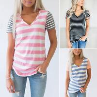 Womens Ladies Striped V Neck Short Sleeve Blouse Summer Slim Casual T-Shirt Tops