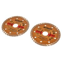 "Amtech 2Pc 115mm / 4.5"" Diamond Turbo Cutting Discs Concrete Stone Tile & Brick"