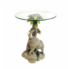 24 in. Multi Colored Glass Top Elephant End Table