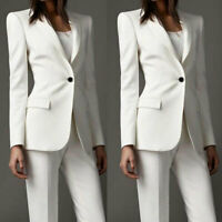 Women Formal Business Office Pant Suits Work Wear Tuxedos Ladies White Suits