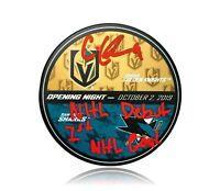 "Cody Glass Signed Inscription ""1st Goal & NHL Debut"" Vegas Matchup Puck BAS COA"