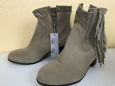 Apt 9 Ankle Boots Tan Taupe Faux Suede Fringe Women's Sz 9