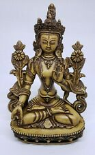 Beautiful White Tara Buddhist Deity Hard Resin Statue Sculpture ~ from Nepal