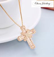 18K Gold PL 925 Solid Silver Cross Cubic Zirconia CZ Pendant Necklace Jewellery