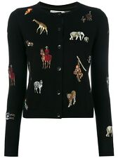 Alice + Olivia Ruthy Animal Patch Cardigan Sweater Black Size S NWOT