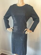 NWT St John Knit dress Size 10 Gray Santana with Sequins wool rayon