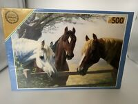 500 piece De-luxe Falcon jigsaw Puzzle Horses New Friends  new sealed