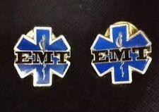 Lot Of 2 EMT Pins Tie Tack Lapel Collar Uniform Enamel Pin Medical Quality Thick