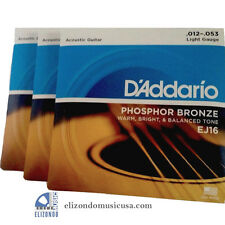 D'Addario EJ16 3 Sets Phosphor Bronze Light Acoustic Guitar Strings