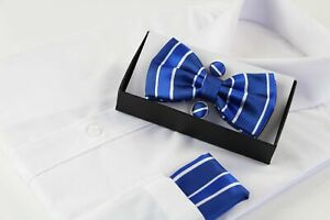 Mens Blue Textured Stripe Matching Bow Tie, Pocket Square & Cuff Links Set