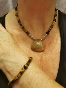 Gemstone necklace, tiger eye necklace bracelet and free earrings see feedback