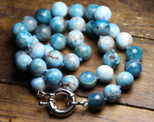 """Apatite Blue White Natural Gemstone 10mm Ball Silk Knot hand tied Necklace 18"""""""