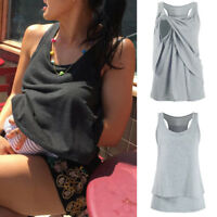 Ladies Women's Maternity Nursing Wrap Double Layer Sleeveless Blouse T Shirt