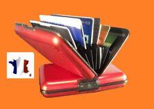 ASTUCIEUX BOITIER-ETUI-PORTE CARTE ROUGE EN ALUMINIUM / cartes bancaires