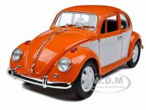 1967 VOLKSWAGEN BEETLE RETRO PAINT ORANGE/WHITE 1/18 MODEL GREENLIGHT 12838