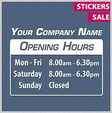 Custom OPENING TRADING HOURS Vinyl Lettering sticker decal business shop sign