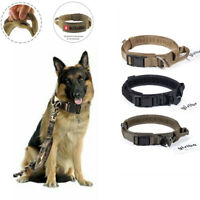 HEAVY DUTY Tactical Military Adjustable Dog Training Collar Leash w/Metal Buckle