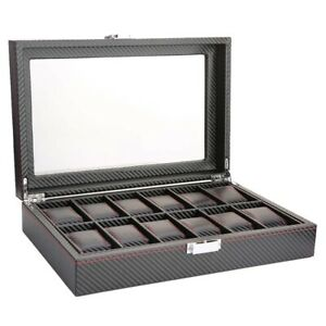 12 Slot Watches Boxes Travel Carbon Fiber Case Jewelry Display Storage Collector