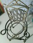 Vintage Rare 8 Heavy Metal Garden Porch Chair Plant Stand Doll Chair Display