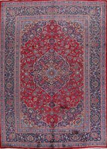 Traditional Floral Kashmar Vintage Area Rug Wool Hand-Made Oriental Carpet 8x11