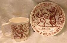 Vintage DAVY CROCKETT Cup Mug Cereal Bowl BEAR INDIAN DEER FOREST