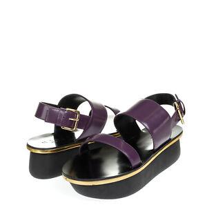 RRP €290 MARNI Leather Slingback Sandals EU 39 UK 6 US 9 Metallic Made in Italy