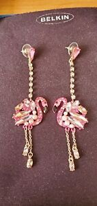 Betsey Johnson Pink Flamingo with Multi Rhinestones Earrings - NEW