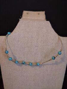 Vintage Sterling Silver Turquoise Beads Anklet Bracelet