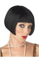 Womens 20s Flapper Black Wig Gangster Moll Gatsby Fancy Dress Costume Accessory
