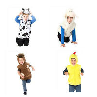 KIDS CHILDRENS GIRLS BOYS FARM ANIMAL NATIVITY FANCY DRESS ZIP UP COSTUME 3-7