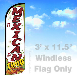 MEXICAN FOOD - Windless Swooper Flag Feather Banner Sign 3x11.5 - wq