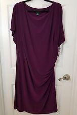 Lauren Ralph Lauren 22W Womens Purple Ruched Wear to Work Dress Plus Party